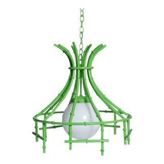 Vintage Faux Bamboo Green Metal Chandelier