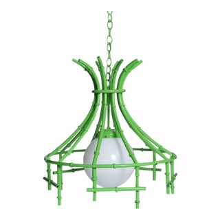 Vintage Faux Bamboo Green Metal Chandelier