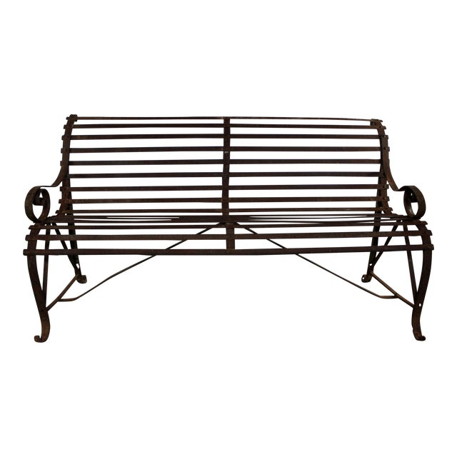 Antique 19th Century Forged Strap Iron Garden Bench - Image 1 of 10