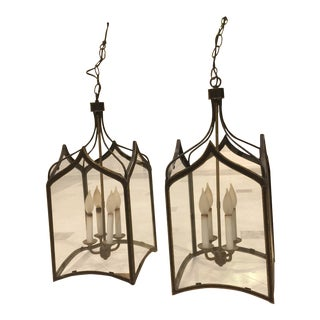Gold Trim Black Cage Lanterns - A Pair