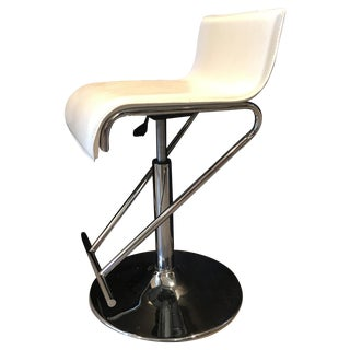 Modern Adjustable White Leather Bar Stool