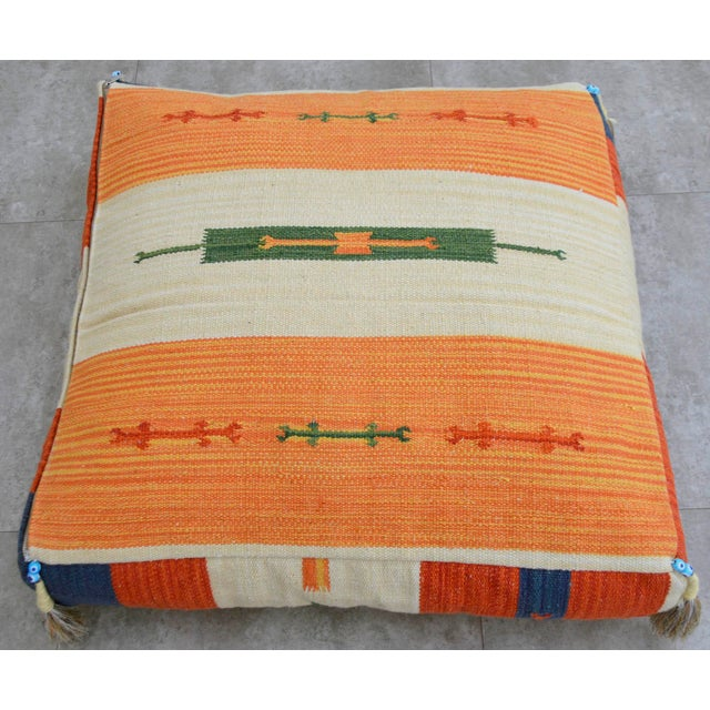 Turkish Hand Woven Floor Cushion Cover Cotton - 26″ X 26″ - Image 6 of 8