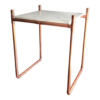 Handmade Copper & Marble Plant Stand