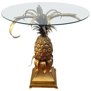 Jansen Style Gilded Metal & Glass Center Table
