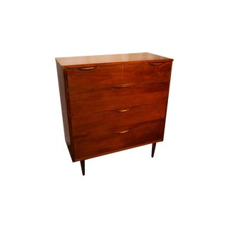 Mid Century Modern Tall Dresser with Sculpted Handles