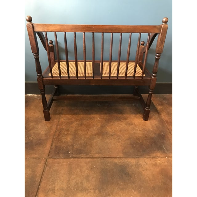 Traditional Wood & Cane Bench - Image 4 of 5
