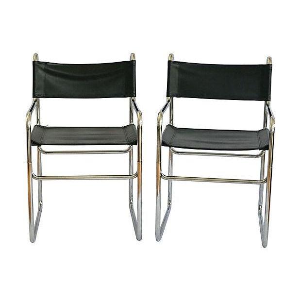 Image of Tubular Chrome Armchairs - A Pair