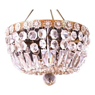 Brass & Crystal Dome Chandelier