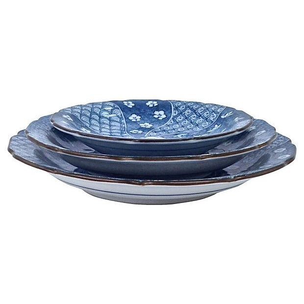 Image of Antique Graduating Japanese Plates - Set of 3