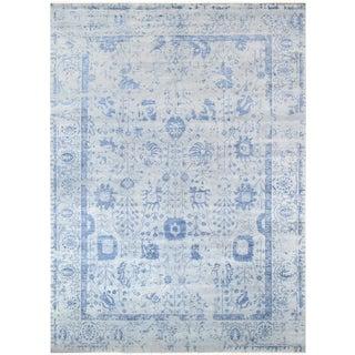 "Pasargad Transitiona Blue Silk & Wool Rug - 9' 0"" X 11'10"""