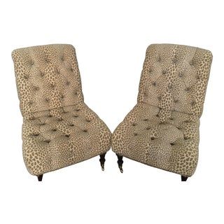 Jessica Charles Leopard Tufted Chairs - A Pair