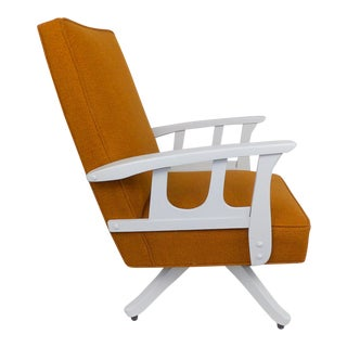 Mid-Century Modern Burnt Orange Swivel Rocking Chair