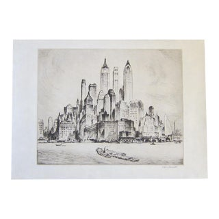 """Vintage Nat Lowell """"Tip of Manhattan"""" Ca. 1940 Signed Limited Edition Etching the Battery, Lower Manhattan, Original Label, Professionally Conserved"""