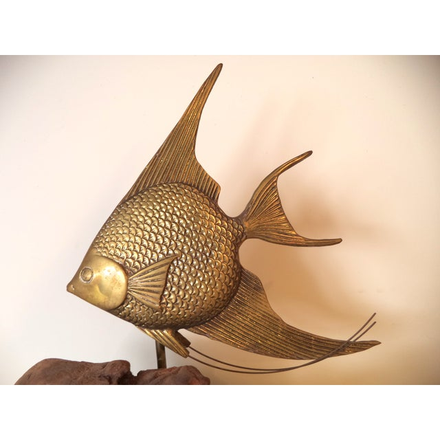 Brass Angel Fish on Driftwood - Image 3 of 6