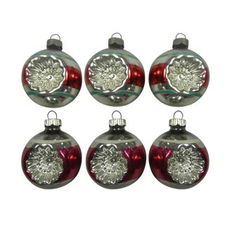 Red & Pink Double Indent Ornaments - Set of 6