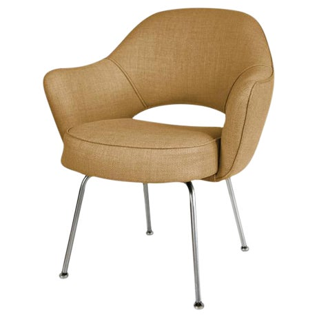 Image of Saarinen Executive Armchairs in Gold Woven-Microfiber, Set of Six