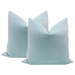 "22"" Spa Blue Velvet Pillows - a Pair"