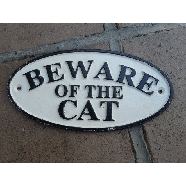 Cast Iron Beware of the Cat Sign - Image 2 of 3