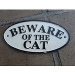 Image of Cast Iron Beware of the Cat Sign