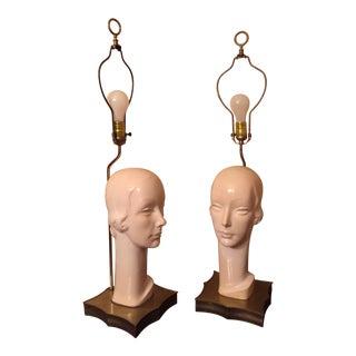 Art Deco Porcelain & Brass Women Lamps