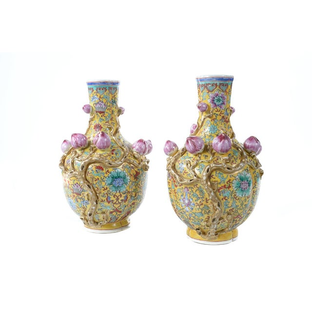Image of Chinese Famille Yellow & Pink Vases - A Pair
