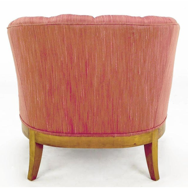 Winsor White & William Millington for Baker Button-Tufted Silk & Walnut Club Cha - Image 5 of 9