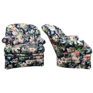 Heritage Dorothy Draper Style Floral Club Chairs - A Pair
