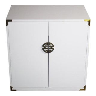 Asian Hollywood Regency White Cabinet with Brass Accents