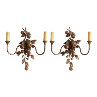 Decorated Florentine Tole Sconces - A Pair