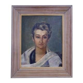 1920s Elegant Oil Portrait of a Woman
