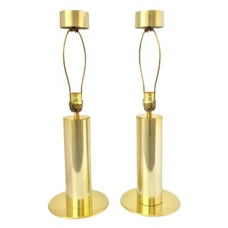George Kovacs Brass Cylinder Touch Lamps - A Pair