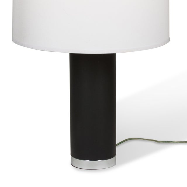 Ralph Lauren Black Leather & Chrome Table Lamp - Image 4 of 8