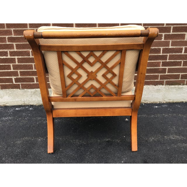 Faux Bamboo Arm Chair with Lattice Back - Image 4 of 7