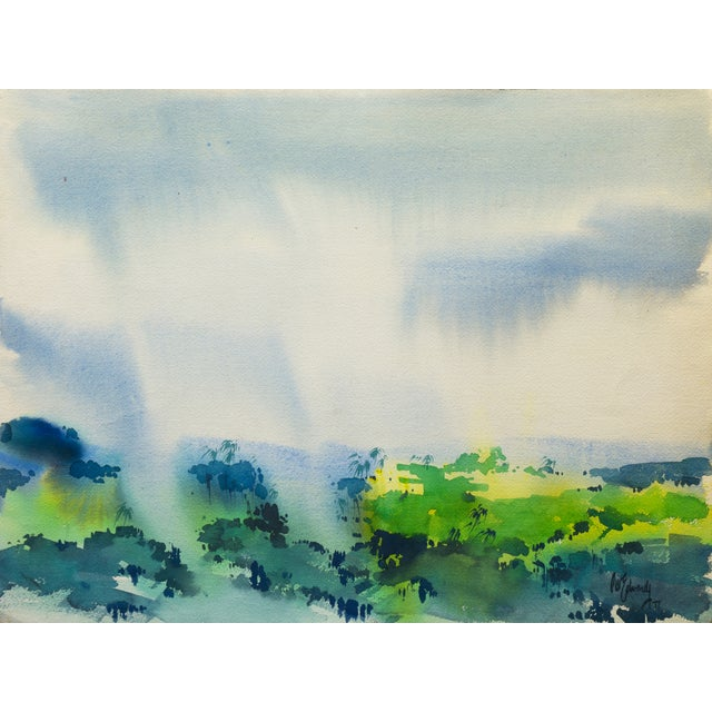 Vintage 1977 Rain-Swept Forest Painting - Image 1 of 5