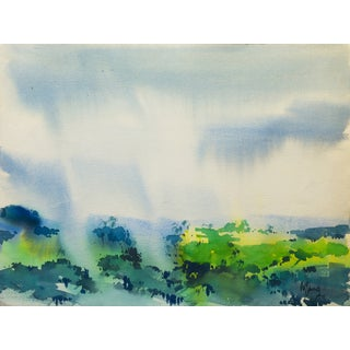 Vintage 1977 Rain-Swept Forest Painting