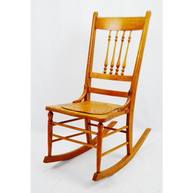 Early Oak & Spindle Back Rocking Chair  Chairish