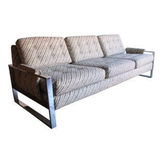 Milo Baughman Chrome Flat Bar & Walnut Sofa