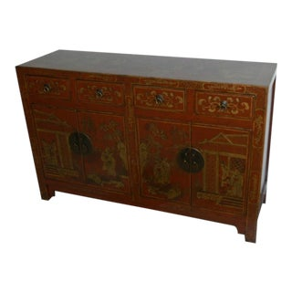 1900 Antique Red Decorated Sideboard