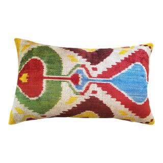 """Camelia"" Silk Velvet Ikat Pillow"