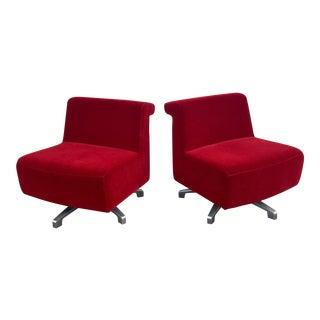 Modern Swivel Slipper Chairs by Gunlocke - A Pair
