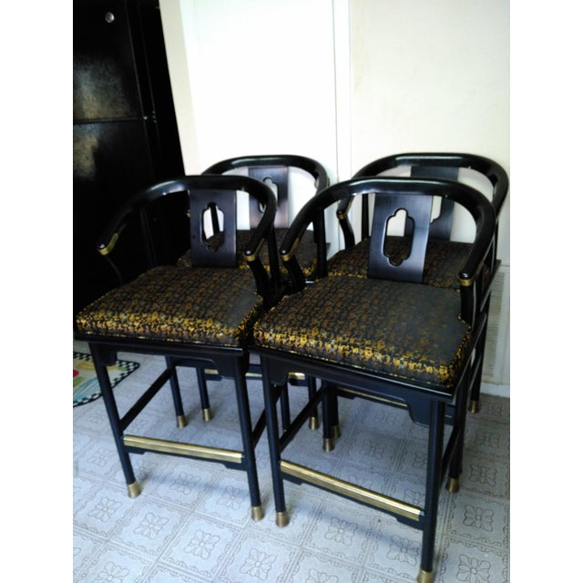 Century Chair Company Hickory Gold & Black Bar Counter Stools - A Pair - Image 2 of 11