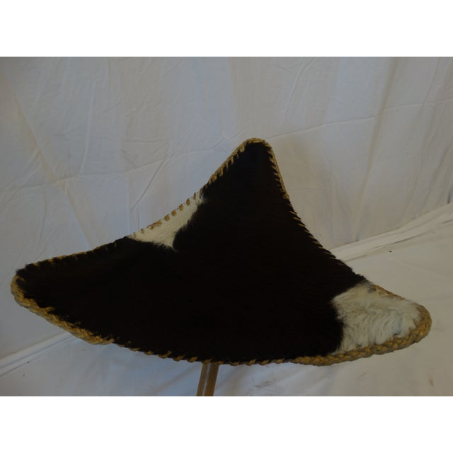 Folding Cow Hide Stool - Image 3 of 4