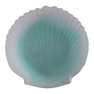 1970s Vintage Murano Aqua Glass Shell Bowl