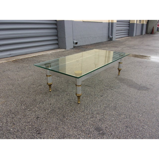 Mid-Century Aluminum & Brass Coffee Table - Image 3 of 11