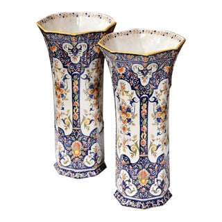 19th Century Rouen French Hand-Painted Vases - A Pair