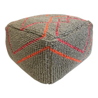 West Elm Neon Diamond Wool Pouf