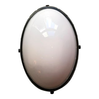 Thomas O'Brien Hicks Bronze With White Glass Oval Flush Mount