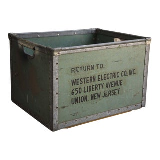 1950s Vintage Industrial Steel Crate