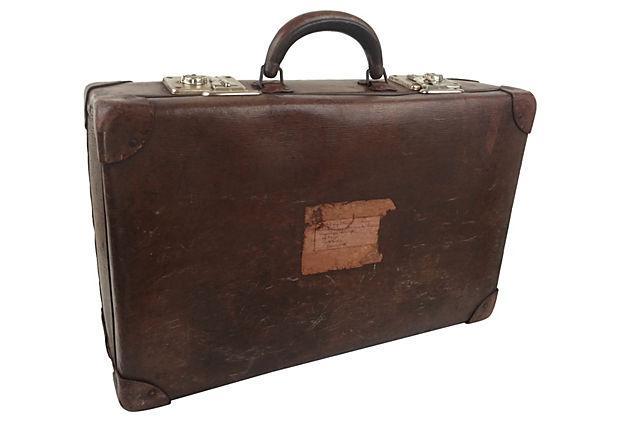 Vintage Scottish Leather Suitcase Chairish