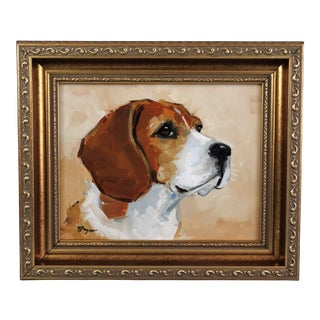 Beagle Dog Oil on Canvas Portrait Painting